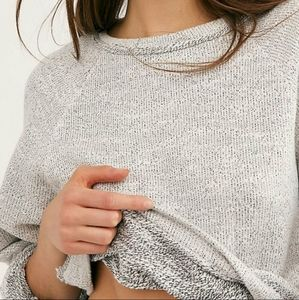 Free People Jade Cropped Pullover Sweater Large